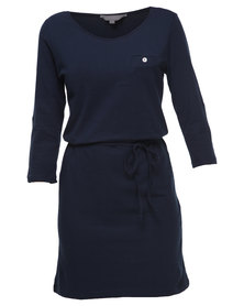 Utopia T-Shirt Dress with Plaited Belt Navy