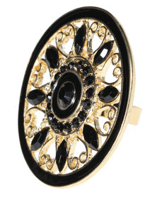 Utopia Round Patterned Ring Gold-Tone