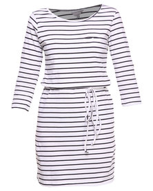 Utopia Stripe T-Shirt Dress with Plaited Belt Black/White