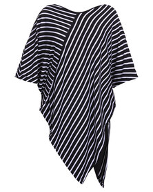 Utopia Stripe Tunic Top Black/White