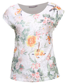 Utopia Printed Lace Tee with Zip Trim White