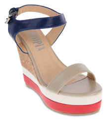 Utopia Cork Colourblock Wedges Red And Blue