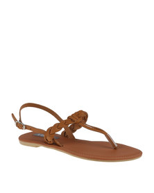Utopia Leather Plait T Bar Sandal Brown