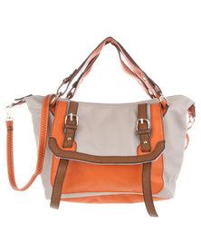 Utopia Contrast Fold City Shopper Bag Beige