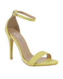 Utopia Croco Barely There Heel Sandal Yellow