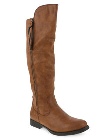 Utopia Knee-high Zip Detail Boots Brown