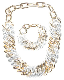 Utopia Chain Link Necklace and Bracelet Set Silver Mix
