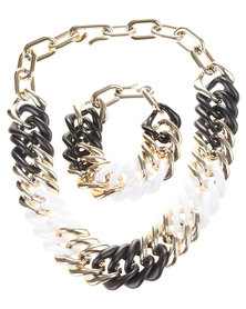 Utopia Chain Link Necklace and Bracelet Set White Mix
