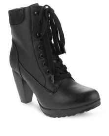 Utopia Lace-Up Ankle Boots Black