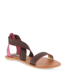 Utopia Elastic Cross-Over Sandals Pink