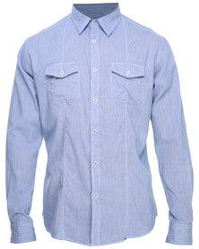 Utopia Contrast Button Stand Shirt Light Blue