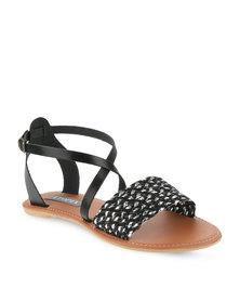 Utopia Cross-Over Ankle Strap Sandals Black