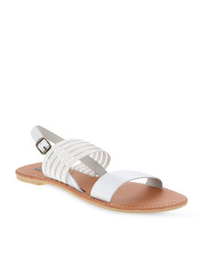 Utopia Elastic and Leather Sandals White