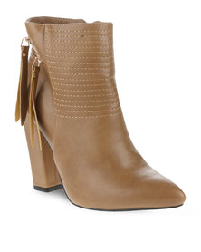 Utopia Ankle Boots with Zip Detail Khaki
