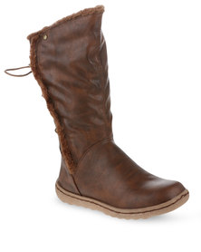 Utopia Casual Tie Back Boots Brown