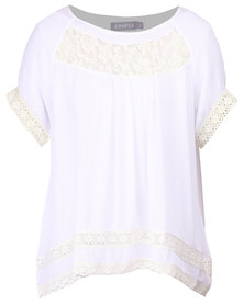 Utopia Top with Lace Inset White