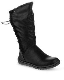 Utopia Casual Tie Back Boots Black