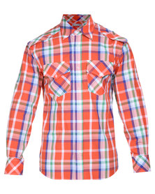 Utopia Check Shirt with Roll-up Sleeve Orange