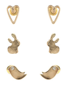 Utopia 3 Pack Bunny Stud Set Gold-Tone