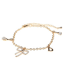 Utopia Bow Charms Bracelet Gold-Tone