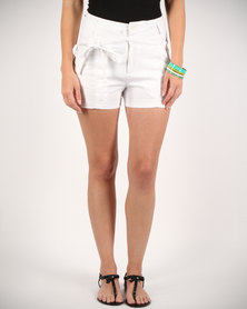 Utopia Shorts With Double Belt White