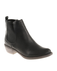 Utopia Gusset Ankle Boots Black