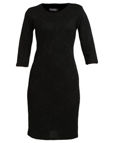 Utopia Bonded Lace Bodycon Dress Black