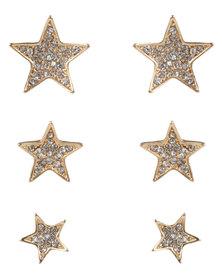 Utopia 3 Pack Star Stud Earrings Silver-Tone