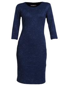 Utopia Bonded Lace Bodycon Dress Navy Blue