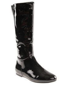 Utopia Plain PU Boot Black