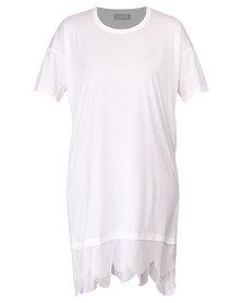 Utopia T-Shirt Dress with Scalloped Edge White