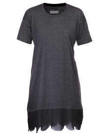 Utopia T-Shirt Dress with Scalloped Edge Charcoal