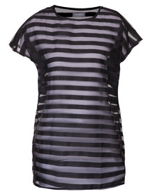 Utopia Shadow Stripe Tunic Black
