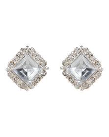 Utopia Square Diamante Studs Silver-Tone