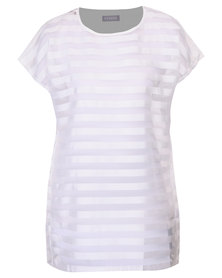 Utopia Shadow Stripe Tunic White