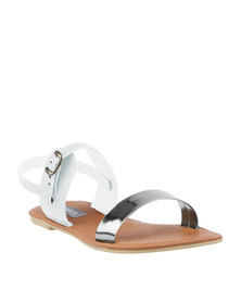 Utopia Quirky Leather Sandals White