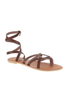 Utopia Ankle Strap Gladiator Sandals Light Brown