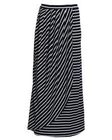 Utopia Stripe Wrap Skirt Black/White