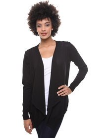 Utopia Cotton Open Shrug Cardigan Black