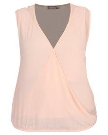 Utopia Plus Sleeveless Wrap Blouse Pink
