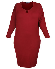 Utopia Plus Batwing Dress Burgundy