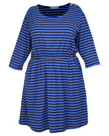 Utopia Stripe T-shirt Dress Navy