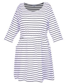 Utopia Plus Stripe T-shirt Dress Black