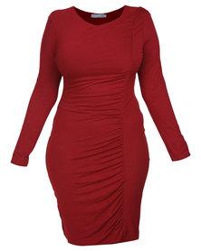 Utopia Plus Draped Sheath Dress Burgundy