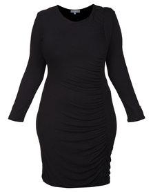 Utopia Plus Draped Sheath Dress Black