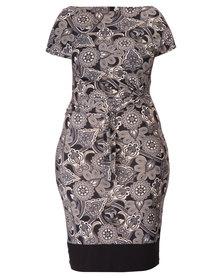 Utopia Plus Printed Wrap Dress Grey and Black