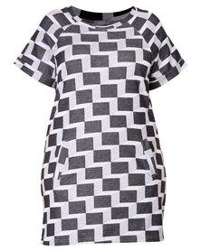 Utopia Plus Geo Dress Black and White
