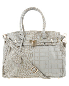 Vikson Structured Croc Tote Handbag Grey