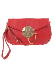 Vikson Gold-Tone Bar Lock Cross Body Bag Red