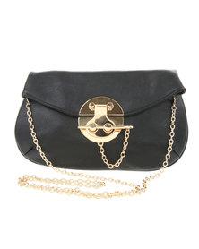 Vikson Gold-Tone Bar Lock Cross Body Bag Black
